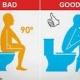 Posición en cuclillas en el WC para ayudar a combatir el estreñimiento